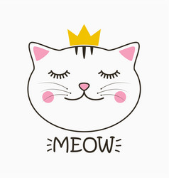 meow cat print vector image