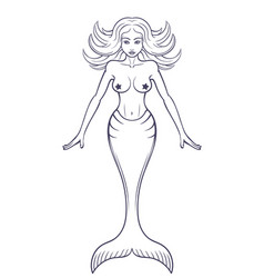 Mermaid Outline Isolated Over White Vector ...