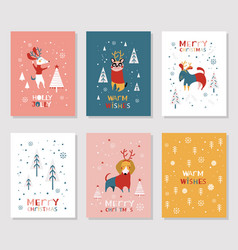 Merry christmas cards collection vector