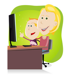 Mom and son surfing on the net vector