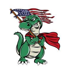 Monster crocodile holding america flag vector