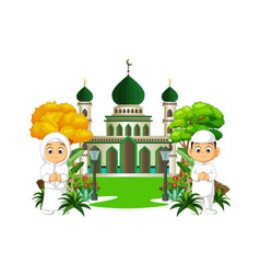 Mosque cartoon with two kids vector