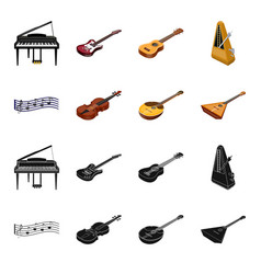 musical instrument blackcartoon icons in set vector image