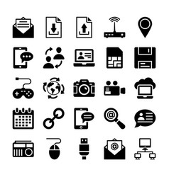 network and communication icons 3 vector image