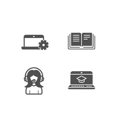notebook service education and support icons vector image
