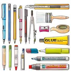 Office supplies isolate background vector