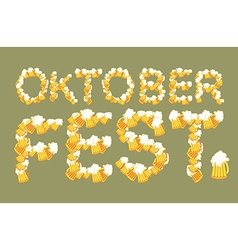 Oktoberfest typography of mug of beer lettring of vector
