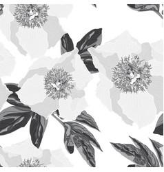 peony flower seamless monochrome pattern vector image