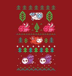 Pixel art flying owls tress and decorative vector
