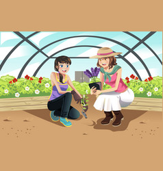 Planting in greenhouse vector