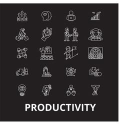 Productivity editable line icons set on vector