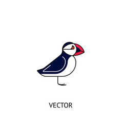 Puffin bird icon vector