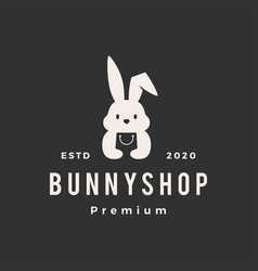 Rabbit bunny shop store hipster vintage logo icon vector