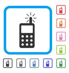 Radio transmitter radiation framed icon vector