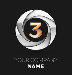 realistic golden number three logo in the circle vector image