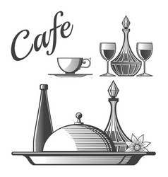 restaurant elements - cup wine glasses vector image
