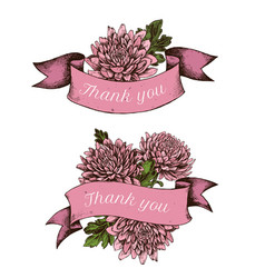 Ribbon design of asters with thank you sing hand vector