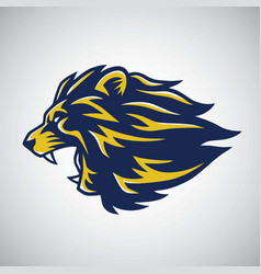 roaring lion logo template blue yellow vector image