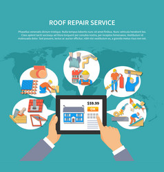 Roofer colored flyer vector