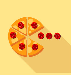 salami pizza slice icon flat style vector image