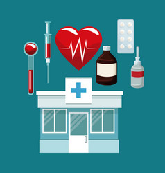Scene hospital facade with icons medicine vector