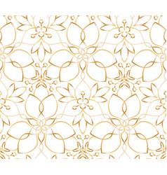 Seamless golden flower pattern on white background vector