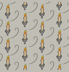 Seamless pattern with candlesticks on grey vector