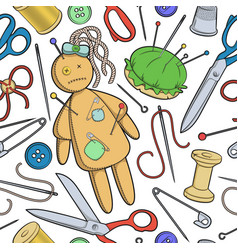 Seamless pattern with sewing utensils a rag doll vector