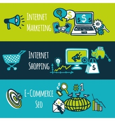 SEO internet marketing set vector image
