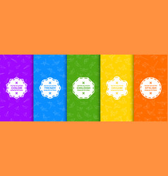 set colorful seamless creative patterns bright vector image