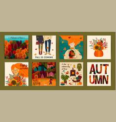Set cute autumn templates vector