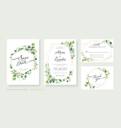 Set greenery wedding invitation card template vector