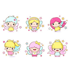 set kawaii fairy little girl in fairy costume vector image