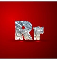 Set of aluminum or silver foil letters Letter R vector