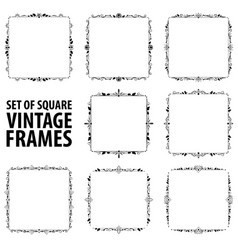 set of eight vintage elegant black frames vector image