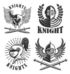 Set of the emblems with knights helmets and vector