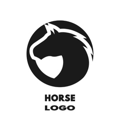 Silhouette of the horse monochrome logo vector image