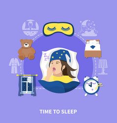 sleeping time flat circle composition vector image vector image