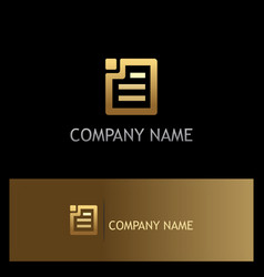 square document paper gold logo vector image