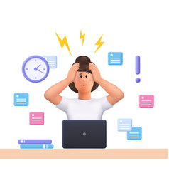 Stressed young woman jane failed to meet deadline vector