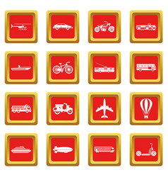 Transportation icons set red vector