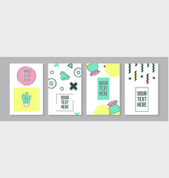 Trendy abstract posters in memphis style vector