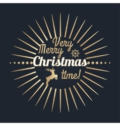 Very Merry Christmas time lettering Golden vector