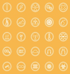 Warning sign line icons on yellow background vector image
