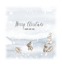 Watercolor card christmas tree with bunny and snow vector