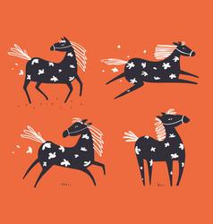 wild horse running scandinavian doodle set vector image