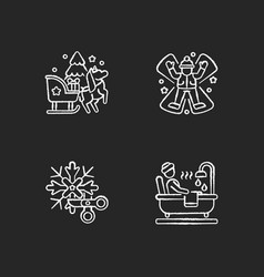 winter holiday entertainment chalk white icons vector image
