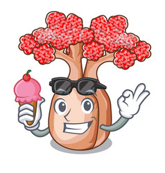 With ice cream hand bottle tree in rope character vector