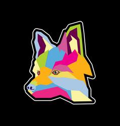 wolf head logo design template vector image