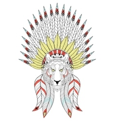 zentangle Tiger with War Bonnet American vector image